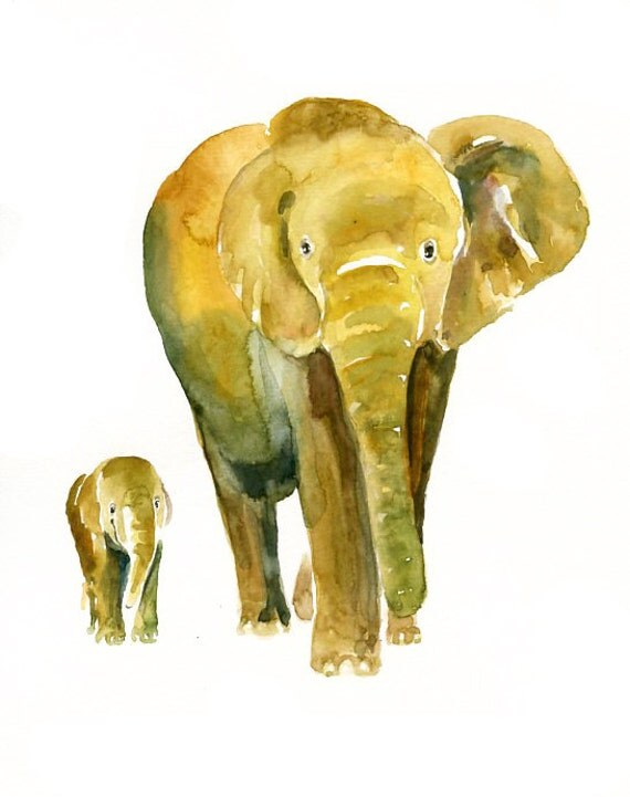 Mom and Baby ELEPHANT by DIMDI Original watercolor painting 8x10inch(Vertical orientation)