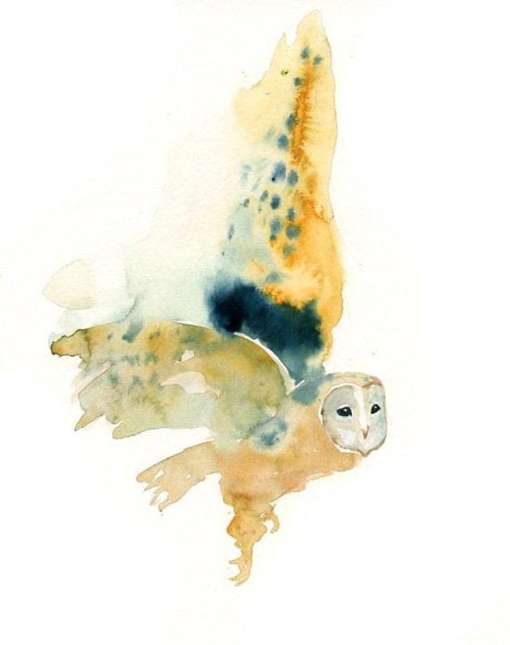 BARN OWL by DIMDI Original watercolor painting 8x10inch
