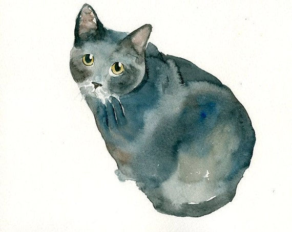 CUSTOM of your CAT by DIMDI Original watercolor painting 8X10inchxxxxAll the animals that you wantxxxx