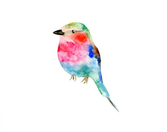 LILIAC breasted roller by DIMDI Original watercolor painting 10X8inch