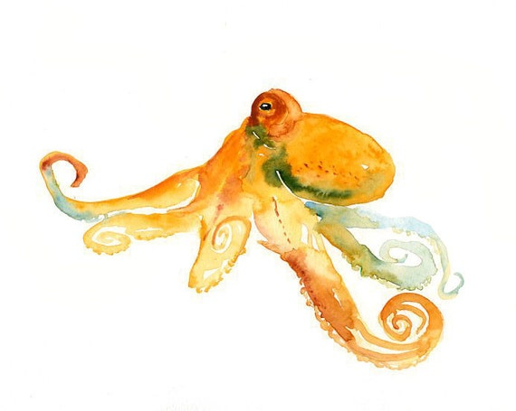 OCTOPUS by DIMDI  Original watercolor painting 10X8inch
