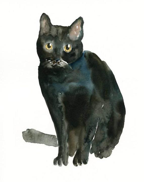 BLACK CAT by DIMDI Original watercolor painting 8x10inch