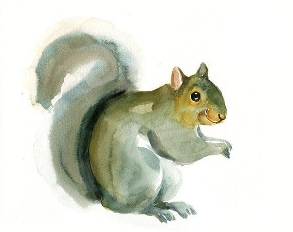 SQUIRREL Original watercolor painting 10X8inch