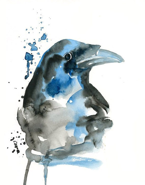 CROW Original watercolor painting 8x10inch