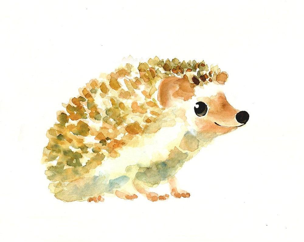 Hedgehog by dimdi original watercolor painting 10x8inch for Cute watercolor paintings