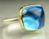 Swiss Blue Topaz Sugarloaf Ring - 18k Gold and Sterling