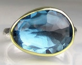 Rose Cut London Blue Topaz Ring - 18k Gold and Sterling