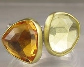 Rose Cut Citrine and Lemon Quartz Stacking Rings - 18k Gold and Sterling