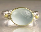 Milky Aquamarine Ring - 18k Gold and Sterling