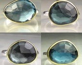 London Blue Topaz Ring - Rose Cut  - Made to Order - 5 plus carats