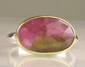 Rose Cut Watermelon Tourmaline Ring - 18k Gold and Sterling