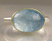 Aquamarine Ring - 18k Gold and Sterling