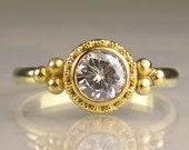 Moissanite Engagement Ring, 22k Gold Granulated Moissanite Engagement Ring, Yellow Gold Moissanite Ring