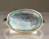 Rose Cut Aquamarine Ring - 18k and Sterling