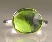 Rose Cut Peridot Ring - 18k Gold and Sterling - Made to Order