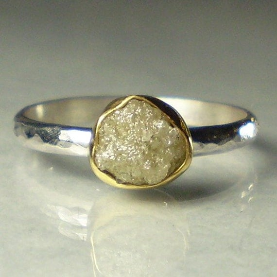 Rough Uncut Diamond Engagement Ring - 22k Gold and Sterling