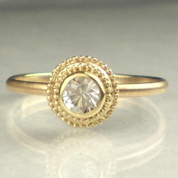 14k Gold Granulated Herkimer Diamond Ring