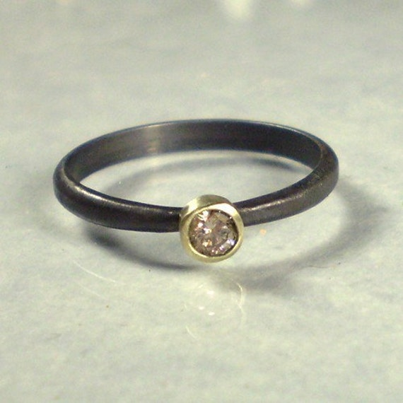 Champagne Diamond Ring-14k Gold and Blackened Silver