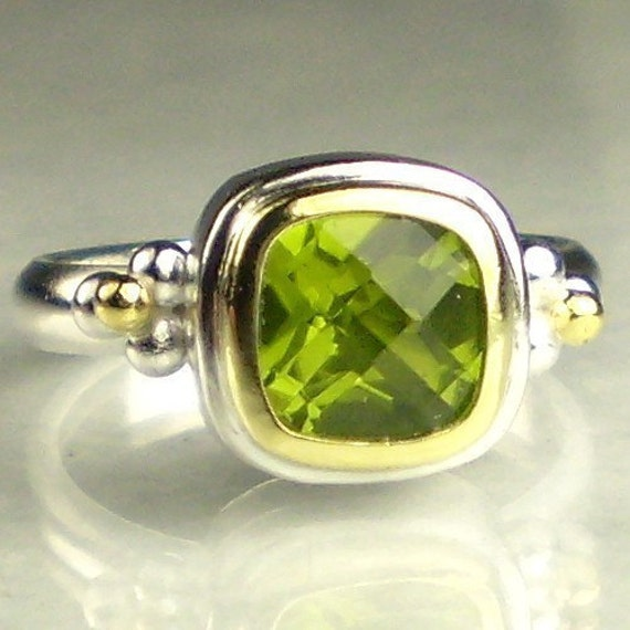 Peridot Ring - 18k Gold and Sterling