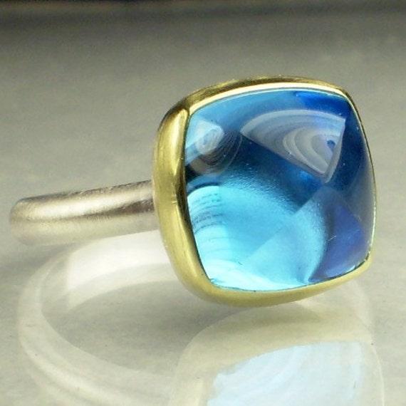 Swiss Blue Topaz Sugarloaf Ring - 18k Gold and Sterling