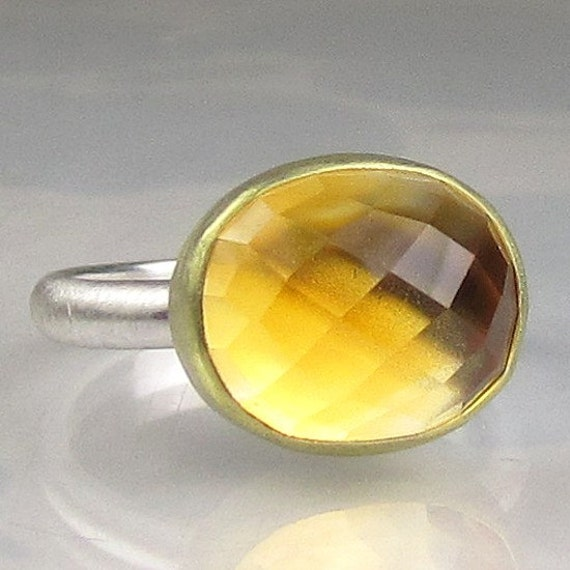 Citrine Checkerboard Rose Cut Ring - 18k Gold and Sterling Silver - Made to Order