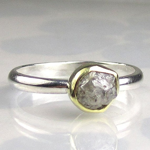 natural rough diamond engagement ring 18k gold and sterling