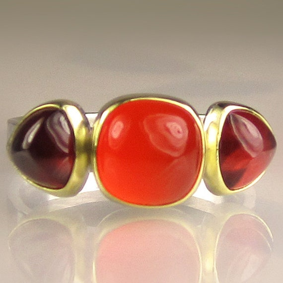 Three Stone Ring - Carnelian and Garnet - 18k Gold and Sterling