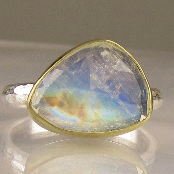 Rainbow Moonstone Ring - Rose Cut  - 18k Gold and Sterling