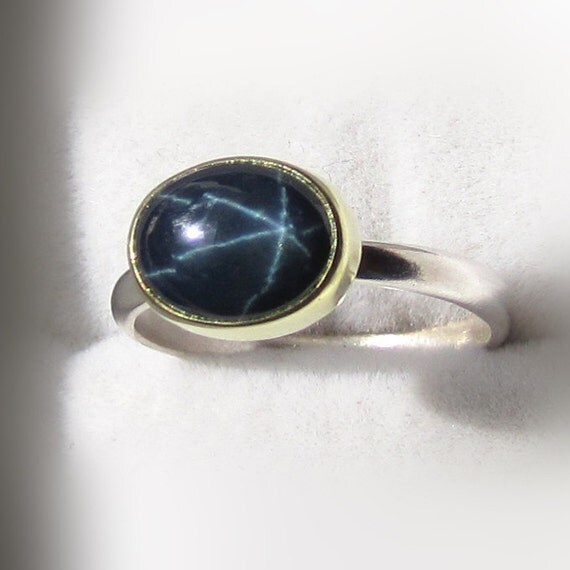 SALE - Star Blue Sapphire Ring- 18k Gold and Palladium Sterling