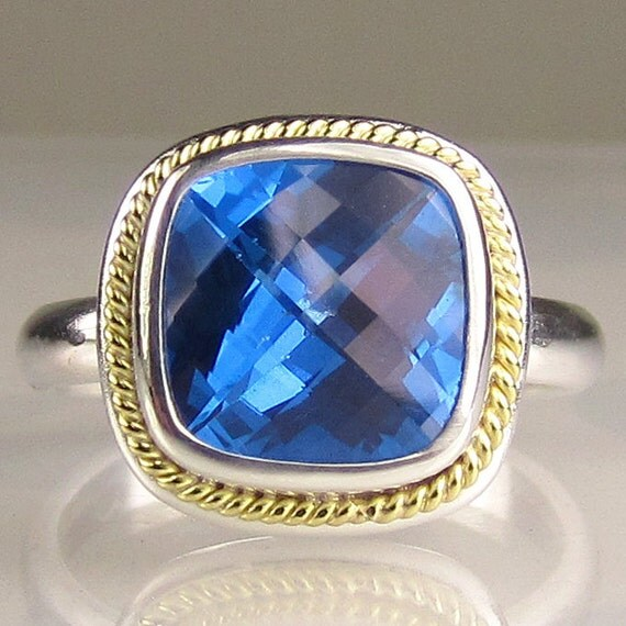 SALE - Blue Topaz Cocktail Ring - 18k Gold and Sterling Silver -15% OFF
