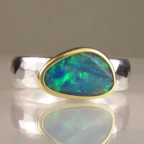 Boulder Opal Ring - 18k Gold and Sterling