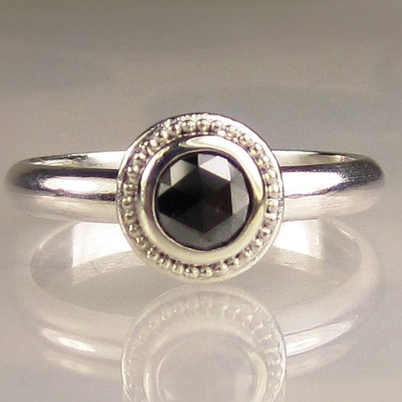 Rose cut black diamond ring by janishjewels on etsy
