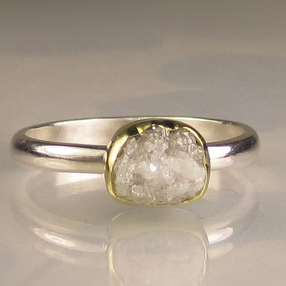 Rough Diamond Ring - 18k Gold and Palladium Sterling