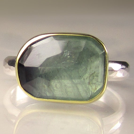 Rose Cut Green Blue BiColor Tourmaline Ring - 18k Gold and Sterling