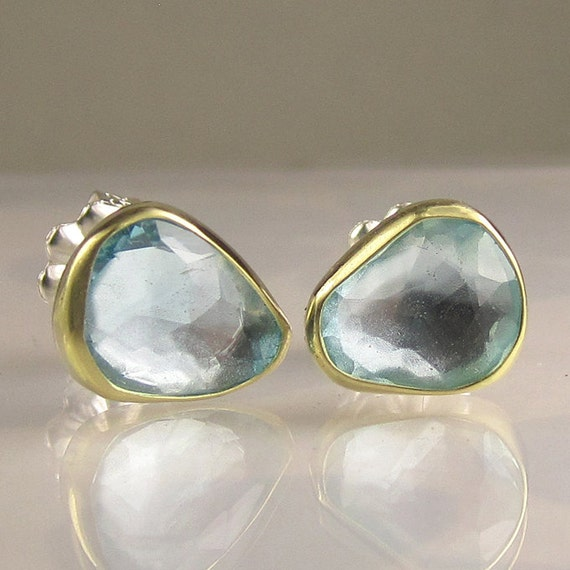 Rose Cut Sky Blue Topaz Earring- 18k Gold and Sterling