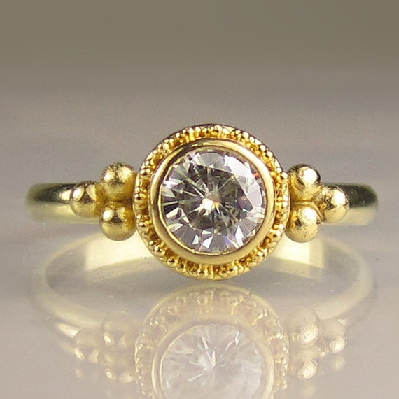 Moissanite Engagement Ring, 22k Gold and 18k Gold Granulated Moissanite Engagement Ring, Yellow Gold Moissanite Ring