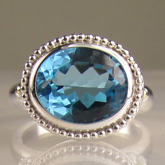 SALE - Blue Topaz Cocktail Ring - 18k Gold and Sterling Silver