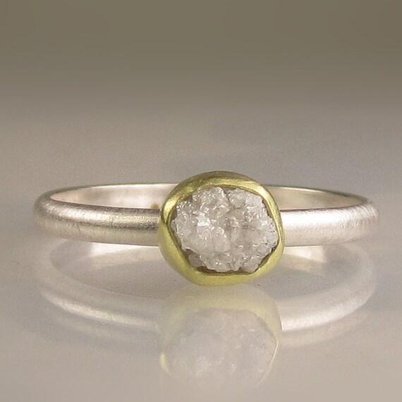 Rough Diamond Ring - 18k Gold and Palladium Sterling