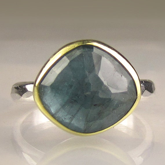 Rose Cut Green Blue Tourmaline Ring - 18k Gold and Sterling