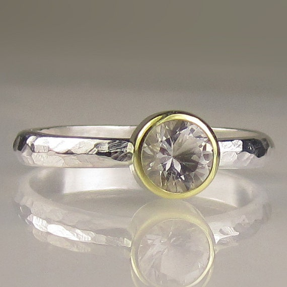 Herkimer Diamond Engagement Ring, Sterling Silver and 18k Gold