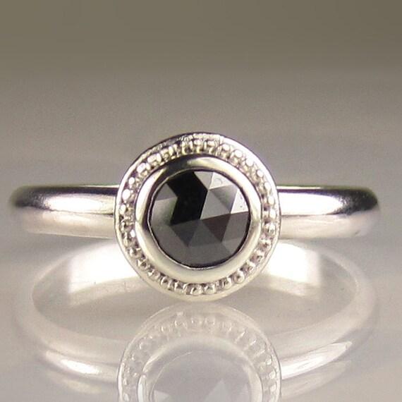 Granulated Rose Cut Black Diamond Ring