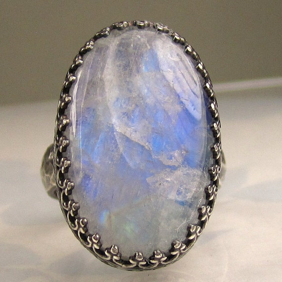 Rainbow Moonstone Ring in Recycled Sterling