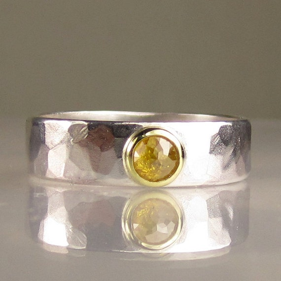 Natural Rose Cut Diamond Engagement Ring - 18k Yellow Gold and Sterling Silver