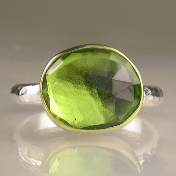 Rose Cut Peridot Ring - 18k Gold and Sterling