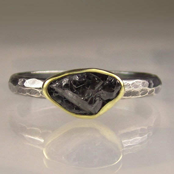 Natural Rough Black Diamond Engagement Ring - 18k Gold and Sterling