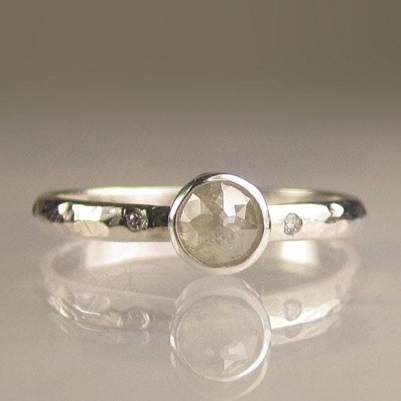 Natural Rose Cut Diamond Ring - Palladium Sterling