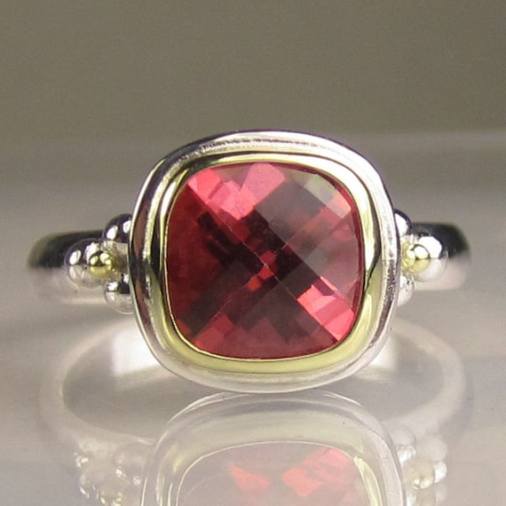 SALE -Pink Topaz Gemstone Cocktail Ring - 18k Gold and Sterling Silver - 10% OFF