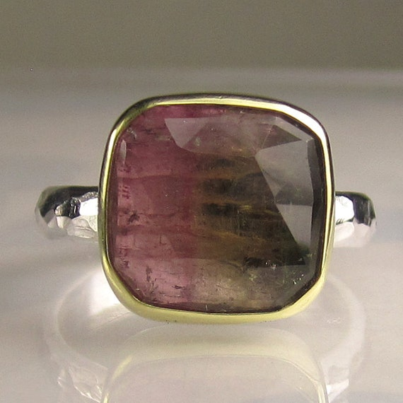 Rose Cut Watermelon Tourmaline Gemstone Ring - 18k Gold and Sterling Silver