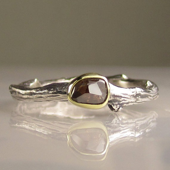 Rose Cut Cognac Diamond Twig Ring - 18k Gold and Sterling