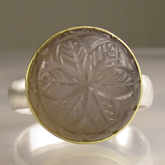 Smoky Carved Moonstone Ring - 18k Gold an Sterling